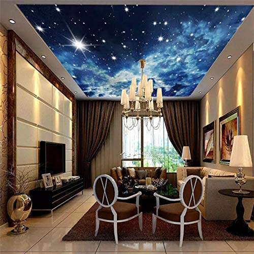 HDDNZH muurschildering op maat, 3D grote muurschildering behang sterrenhemel wolken sterren plafond TV sofa achtergrond muur kTV bar woonkamer slaapkamer huis decoratie 60cm(H)×120cm(W)