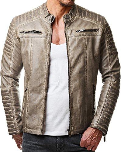 Redbridge Herren Jacke Übergangsjacke Biker Kunstleder Echtleder Baumwolle mit gesteppten Bereichen (XL, Beige - Kunstleder)