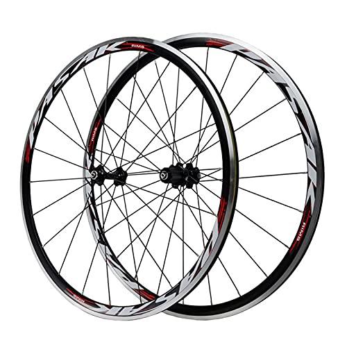 zyy Ruedas de Bicicleta de Carretera 700C 30MM Juego de Ruedas Llanta de Aleación de Aluminio de Doble C/V Disco de Freno Lanzamiento Rápido 7 8 9 10 11 Velocidades (Color : D)