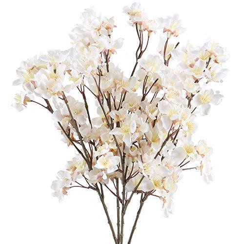 NAHUAA Flores Artificiales Flores de Cerezo Ramo de Flores Plastico Flor para Interior o Exterior Decoración para Hogar Veranda Jarrones Boda (Blanca)