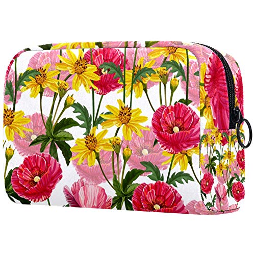 Poppies And Daisy Pattern Cosmetic Bag Makeup Pouch Case Organizer for Travel Portable Toiletry Purse for Girls, Women