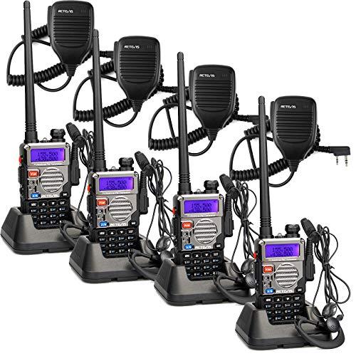 Retevis RT-5RV Ham Radios Handheld 128CH Dual Band Two Way Radios Long Range,UHF/VHF VOX FM Amateur Radio Walkie Talkies with Speaker Mic(4 Pack)