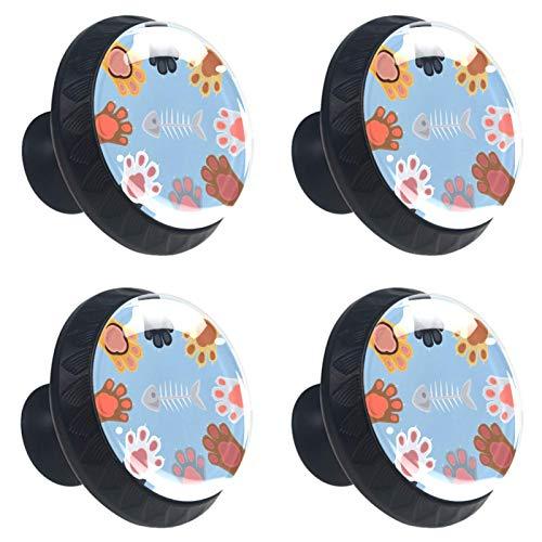 ATOMO 4 tijeras de papel con diseño de gatos jugando a la roca, cristal de 30 mm, tirador de cajón Usd para armario, cajón