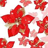 24 Piezas Flores Poinsettia Brillantes de Navidad Flores Navideñas Artificiales Adornos de Año Nuevo Árbol de Navidad Boda (Rojo)