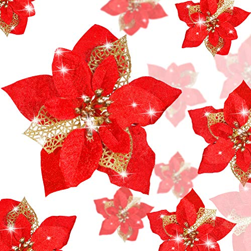 WILLBOND 36 Pieces Christmas Glitter Poinsettia Artificial Flowers Christmas Flowers Decorations Wedding Xmas Tree New Year Ornaments (Red, Double Layer Hollow Style)