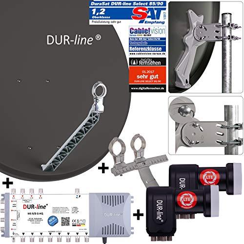DUR-line 8 TN/2 Satelliten Set - Qualitäts-Alu-Satelliten-Komplettanlage - Select 85cm/90cm Spiegel/Schüssel Anthrazit + Multischalter + 2xLNB - für 8 Receiver/TV [Neuste Technik, DVB-S2, 4K, 3D]