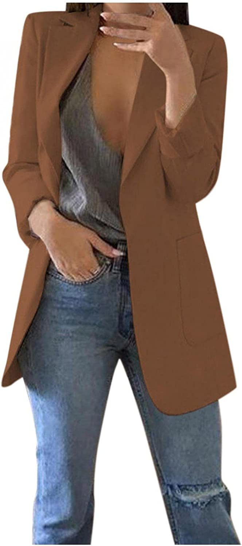 LEIYAN Womens Open Front Blazer Long Sleeve Lapel Collar Casual Work Office Cardigan Jacket Boyfriend Dress Shirts