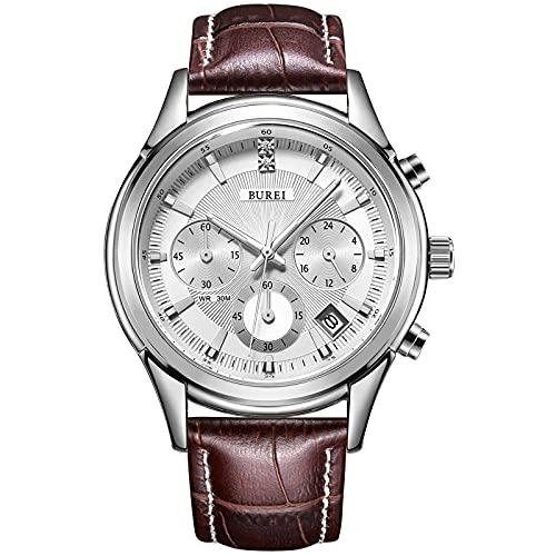 BUREI Herrenuhren Elegante Chronographenuhr für Herren Weiches Lederarmband Business Luxury Sport Style