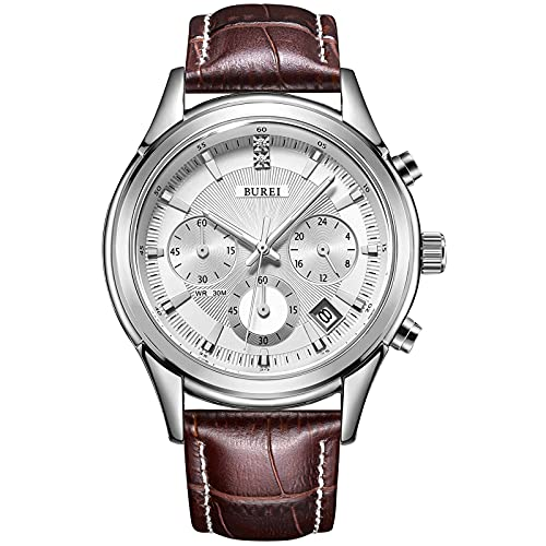 BUREI Elegant Men's Chronograph Watch Brown Leather Watches Stainless Steel Case Casual Sport Style Japanese Quartz Movement