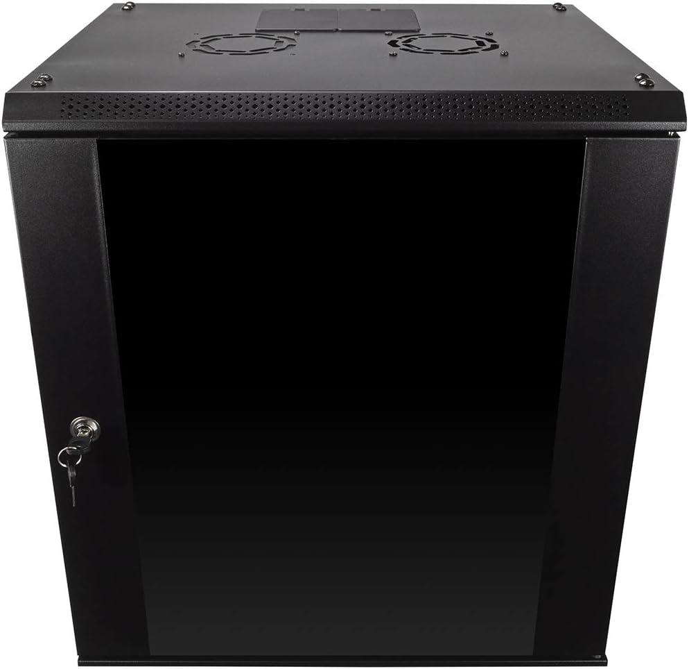 NavePoint 12U Wall Mount Consumer Series Server Cabinet Network Enclosure Locks, Fan