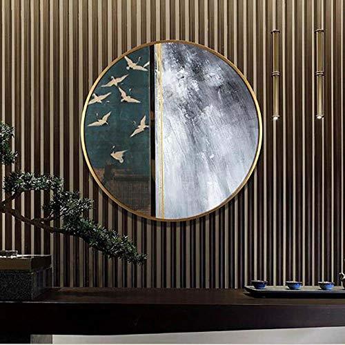 WANGXINQUAN Pintura Abstracta Circular Entrada Entrada Corredor Pinturas Luz Lujo Salón Enorme Pintura Al Óleo Pared 60 * 60 cm