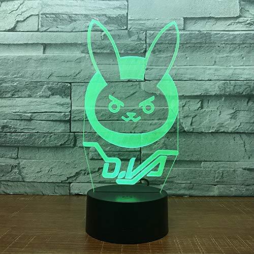 Kaninchen USB Schlaf 3D LED Nachtlicht Tischlampe Nachttisch Dekoration Kinder Geschenk