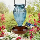 Juegoal Glass Wild Bird Waterer, 37 oz Wild Bird Feeder for Outdoors, Diamond Shaped Water Cooler with Metal Handle Hanging for Garden Tree Yard Outside Decoration, Gray-Blue