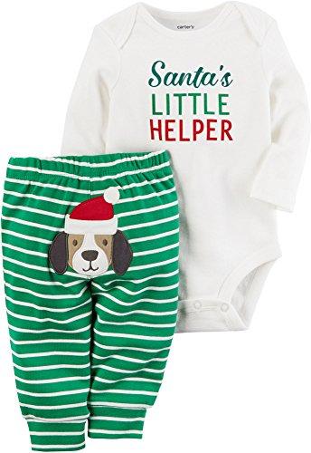 Carter's Baby My 1st Christmas Little Helper 2 Piece Bodysuit Pants Set (6 Months, Green)