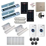 Visionis FPC-8071 2 Doors Professional Access Control Inswing Door Electromagnetic Lock 600lbs Time Attendance TCP/IP RS485 Wiegand Controller, Indoor Only Keypad/Reader, Software 100,000 Users Kit