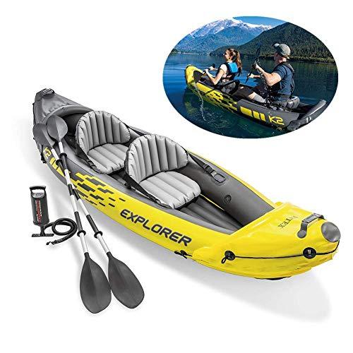 LXDDP Aufblasbares Kajak-Schlauchboot für 2 Personen mit Aluminiumrudern und Hochleistungsluftpumpe, geeignet für Angeln, Wassersport, Urlaub und Freizeit