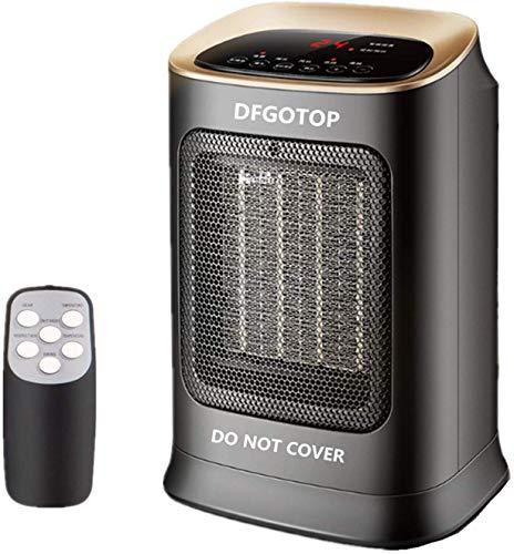 DFGOTOP Calefactor de Espacio Portátil Eléctrico Silencioso para Oficina, Mini Calefactor de Ventilador Cerámica de Baño, Termoventiladores y Calefactores 900 W / 1800 W con Control Remoto