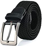 Gallery Seven Woven Elastic Braided Belt For Men - Fabric Stretch Casual Belt - Black - Large