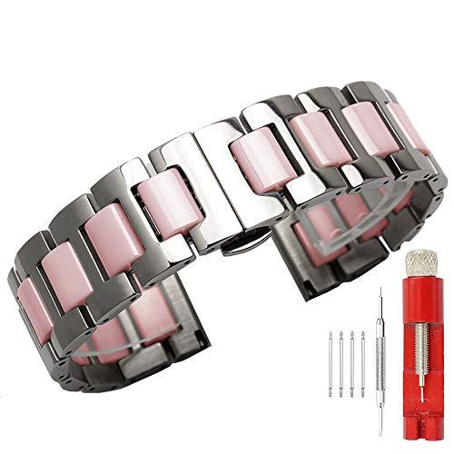 Kai Tian Correa de reloj de cerámica rosada de dos tonos de acero inoxidable de 20mm para hombres mujeres Todos los enlaces extraíbles Banda de reloj de repuesto con herramienta