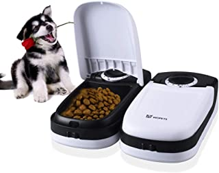 WOpetペット給餌器 タイマー給餌器猫用自動給餌器 タイマーは最大48時間餌対応できかわいい オシャレ自動給餌器ペットおるすばんフィーダー2食分 商品サイズ:26.5*23.5*7.5CM (ブラック)