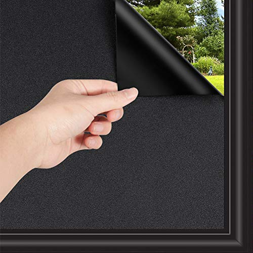 Blackout Window Film Privacy, WochiTV Removable Window Film Blackout Privacy for Home, Anti UV Darkest Window Tint Static Cling - Non Adhesive (Black, 17.5 Inch x 6.56 Feet)