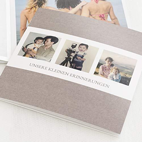 Fotobuch Geburtstag Mini-Format, Brauner Stoff, kompakt auf 16 Seiten, im quadratischen Format, personalisiert mit Wunschbildern & -text, Bilder-Büchlein als Erinnerung oder zum Verschenken