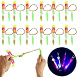 ZGHYBD Slingshot Flying Helicopter with Multicolor LED by Blinkee,12 pcs Light up Rocket Slingshot LED Rocket Copters Arrow Helicopter Glow in The Dark Party Supplies Birthday