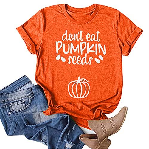 Aniywn Womens Pumpkin Graphic T Shirt Halloween Letters Print Shirt Costume Short Sleeve Loose Fall Tee Tops Orange