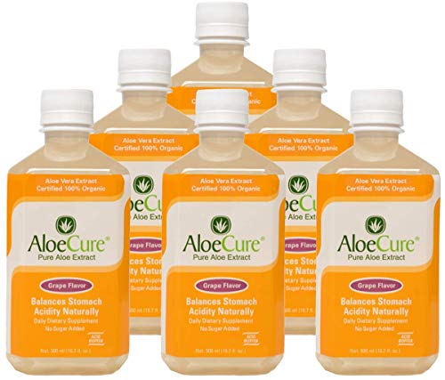AloeCure Pure Aloe Vera Juice Grape Flavor Acid Buffer, Certified Organic Aloe Processed within 12 Hours of Harvest for Maximum Nutrient Preservation, No Charcoal Filtering-Inner Leaf, 6x500ml bottles