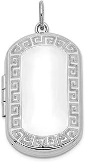 Ciondolo rettangolare in argento Sterling 925 con ciondolo a forma di chiave greca.