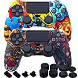 MXRC Silicone Rubber Cover Skin case Anti-Slip Water Transfer Customize Camouflage for PS4/SLIM/PRO Controller x 2 (Cartoon&Beast) + FPS PRO Extra Height Thumb Grips x 8 + Dustproof Plug x 4
