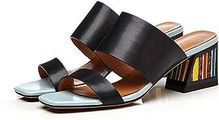 JRSHODA Sandalias De Cuero para Mujer Zapatillas De Colors Gruesos Tacones Altos Sandalias Fuera Zapatillas De Fiesta Zapatos De Boda