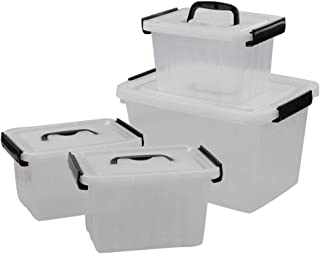 Utiao Clear Bins with Lid, Black Handle and Latching, Plastic Storage Box(Large and Small)