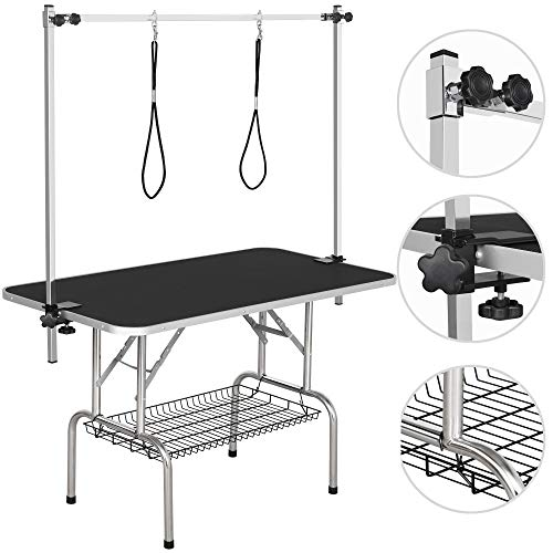 YAHEETECH Pet Grooming Table for Large Dogs Adjustable Height - Portable Trimming Table Drying Table w/Arm/Noose/Mesh Tray Maximum Capacity Up to 265Lb Black 45in x 24in
