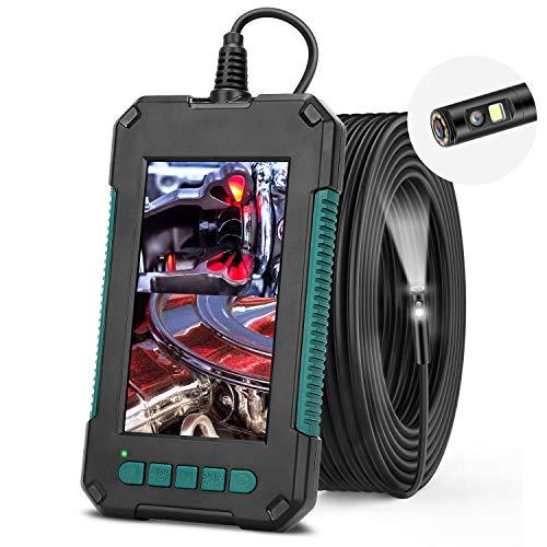 RuMIA - Endoscopio a doppia fotocamera, con 8 LED, IP67, impermeabile, schermo da 4,3 pollici, endoscopio 1080P, con cavo semirigido da 5 metri (include scheda TF da 32 g).