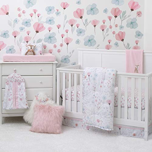 NoJo Lovely Watercolor Floral 8-Piece Crib Bedding Set with Comforter, Pink, Aqua, Grey, White