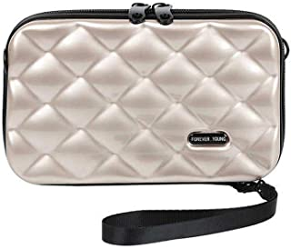 Hamkaw Travel Makeup Bag for Women, Mini Texture Suitcase Makeup Brushes Bag, Portable Hard Shell Cosmetic Case with Wrist Strap and Shoulder Strap