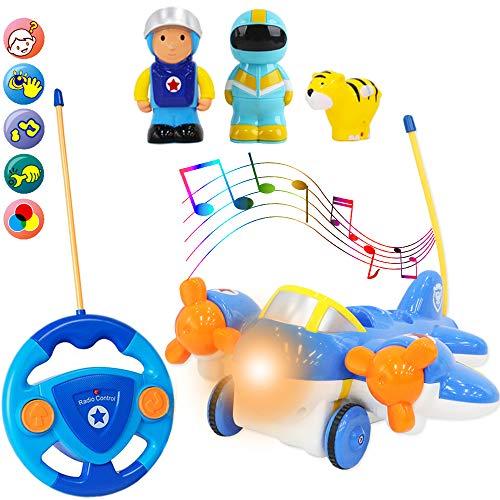 deAO RC Avión Adorable Juguete para Principiantes Avioncito a Control Remoto con Luces, Música y Sonidos Figuras de Conductor Extraíbles y Mascota Incluida (Avión Azul, Policía y Tigre)