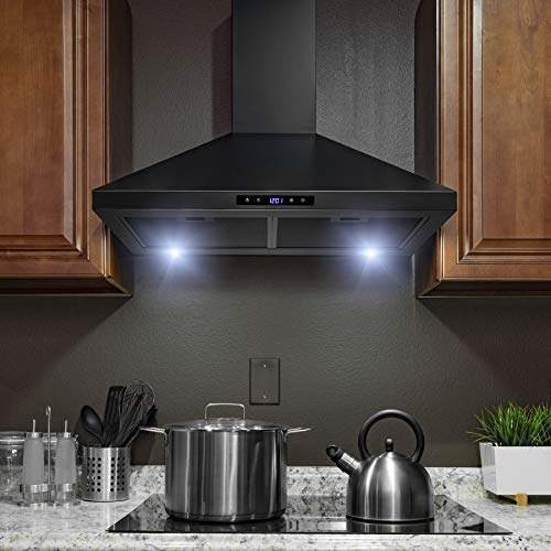 Golden Vantage Wall Mount Black Painted Stainless Steel Kitchen Range Hood with Touch Panel and LED lights (30 in.)