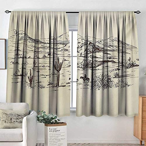 """Elliot Dorothy Blackout Curtains Western,Wild West Landscape Illustration with Mountains Desert Plants Cowboys on Horses,Beige Black,Rod Pocket Drapes Thermal Insulated Panels Home décor 63""""X63"""""""