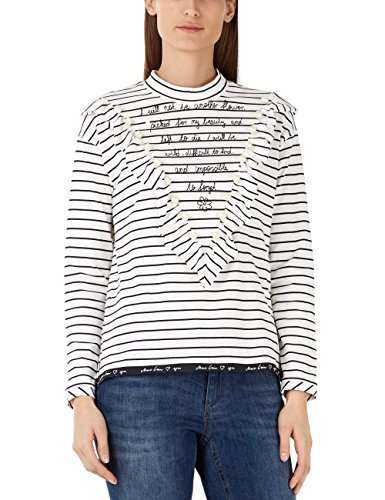 Marc Cain Additions KA 48.14 J91 T-Shirt, Multicolore (Black And White 910), 46 Donna