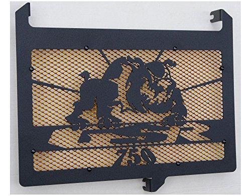cache radiateur/grille de radiateur 750 GSR design Bulldog noir carbone satiné + grillage anti gravillon or