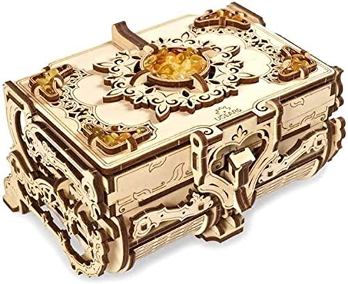 UGEARS Schatulle 3D Modellbausatz Holztruhe-3D Holzbausatz Schatzkiste-3D Puzzle Erwachsene Box (Bernstein-Schatulle)
