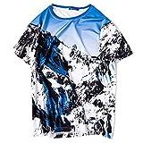 HA73 - Camiseta de manga corta con estampado de nieve de montaña moderno y...