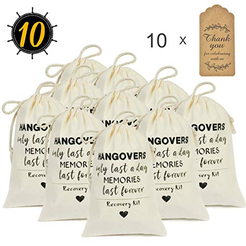 DÉCOCO 10 Wedding Favors Bachelorette Party Favor Hangover Kit Bags(4'' x 6'') and Gift Tags Hangovers Bag Cotton Drawstring Wedding Welcome Holiday Survival Recovery Bridesmaid Gifts
