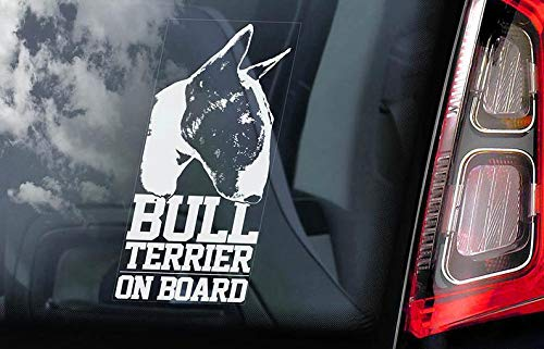 CELYCASY Bullterrier on Board – Autofenster-Aufkleber – English Bully Brindle Hund Schild Aufkleber – V03