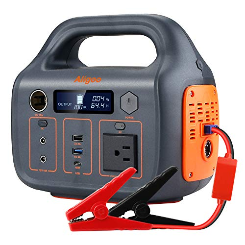 Aligoo 300Watt Portable Power Station generator with 12V Car Jump Starter power bank, 266Wh lithium backup battery,Pure Sine Wave AC/DC outlet, Solar Generator,portable generators for camping solar