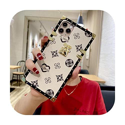 Custodia per telefono in pelle quadrata per iPhone 11 Pro Max XR X XS Max 7 8 Plus SE 2 Reticolo protettiva posteriore Cover-Bianco-per iPhone 8