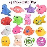 WISHKEY Baby Bath Toy Set of 14 Pcs Chu Chu Colorful Animal Shape