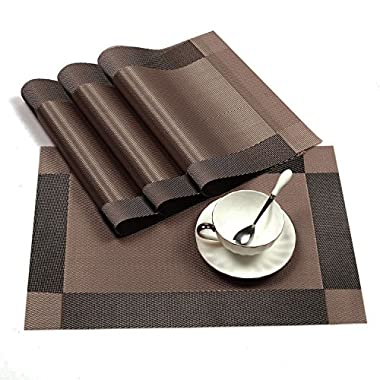 Placemats,Set of 8 AAndrea Heat-resistant Place mats,Non-slip Washable PVC Round Table Mats Woven Vinyl Placemat,12x18 (Brown)